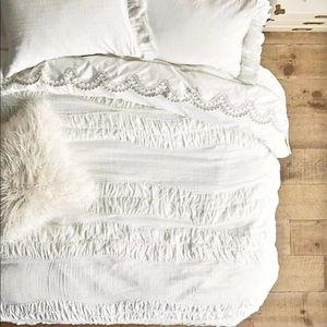 Anthropologie Ruched Textured  Cotton Tie Duvet